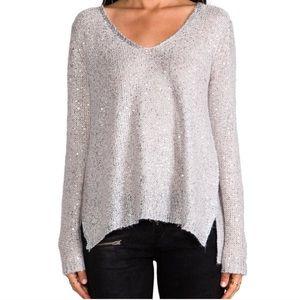 BB Dakota Sequin V-neck Sweater Open Back Beige